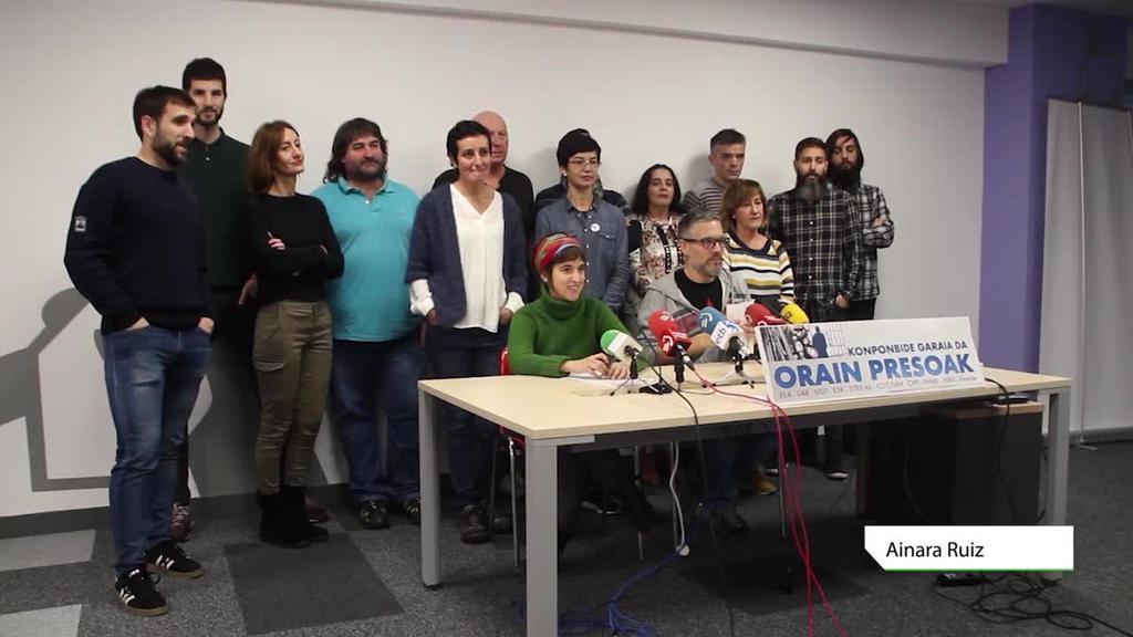 Sindikatuek presoen auzia konpontzeko pausuak eskatu eta urtarrilaren 12ko manifestazioarekin bat egin dute