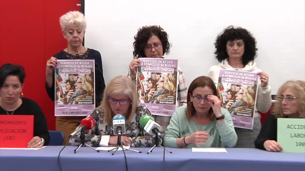 Bizkaiko Etxez Etxeko Laguntza Zerbitzuan hitzarmen duina lortzeko borrokan jarraitzen dute sindikatuek