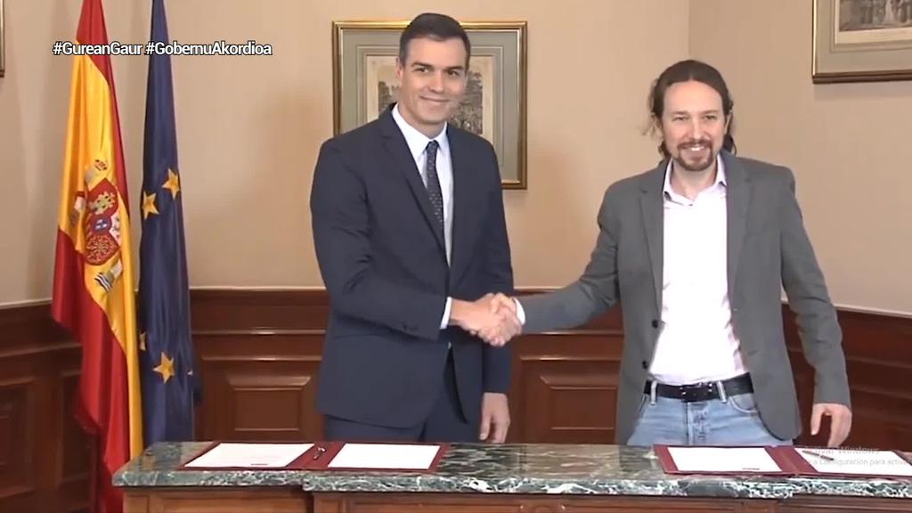Koalizio-gobernua osatzeko akordioa egin dute PSOEk eta Unidas Podemosek Espainian