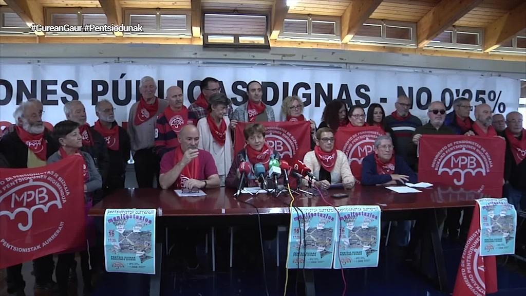 Hainbat eragilek bat egin dute Bizkaiko Pentsiodunen Mugimenduak deitu duen manifestazioarekin
