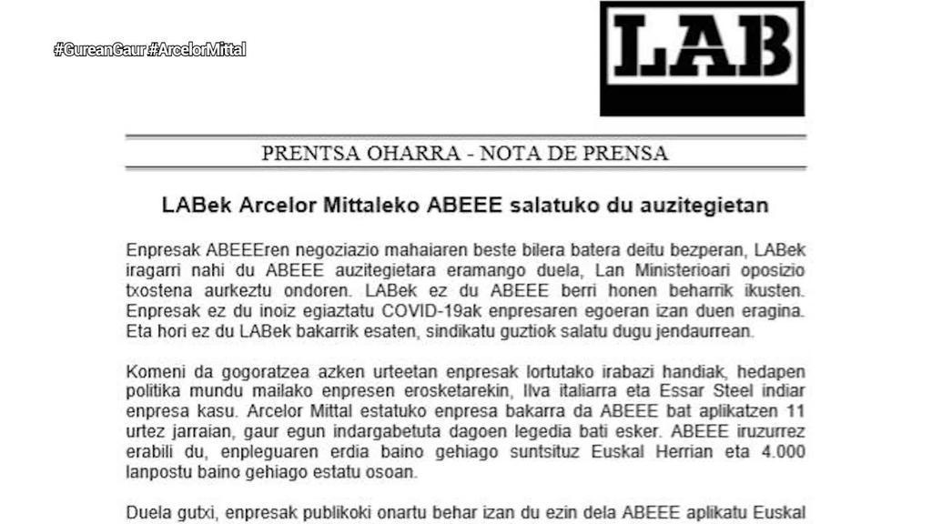 LABek Arcelor Mittaleko aldi baterako lan erregulazio espedientea auzitegietan salatuko du