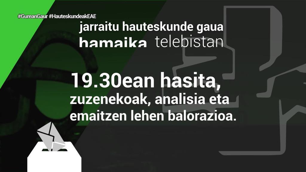 Zuzenean emango du Hamaika Telebistak Eusko Legebiltzarrerako hauteskunde gauaren berri igandean