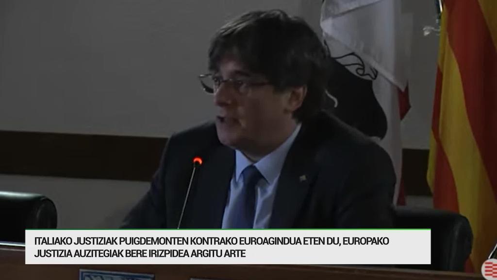 Italiako justiziak Puigdemonten kontrako euroagindua eten du momentuz