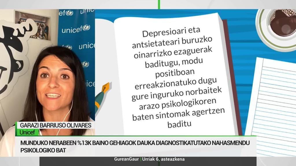 Garazi Barriuso, UNICEF: 'Osasun mentala ez dago osasun fisikoaren pare, inbertsio falta handia dago'